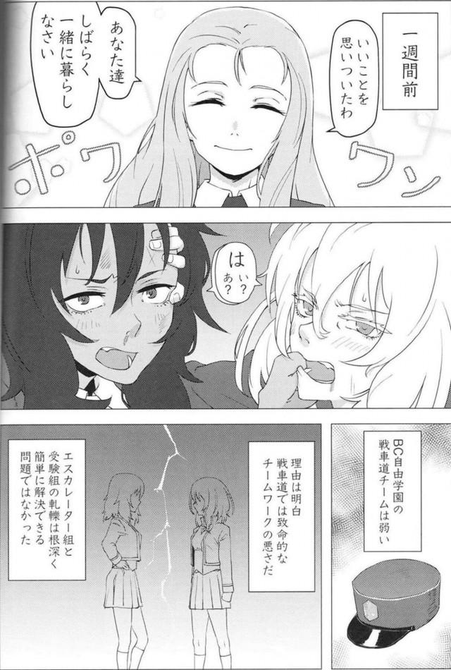 【エロ同人 ガルパン】チームワークを良くするために、マリーから命令され共同生活をすることになった褐色な安藤と巨乳な押田。【無料 エロ漫画】