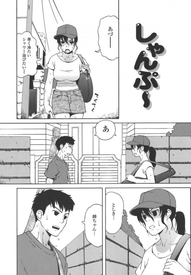【エロ漫画】暑い夏の日先を急いで家に入ろうとする姉弟。結局は二人は一緒にお風呂に入ることに。【無料 エロ同人誌】 (1)