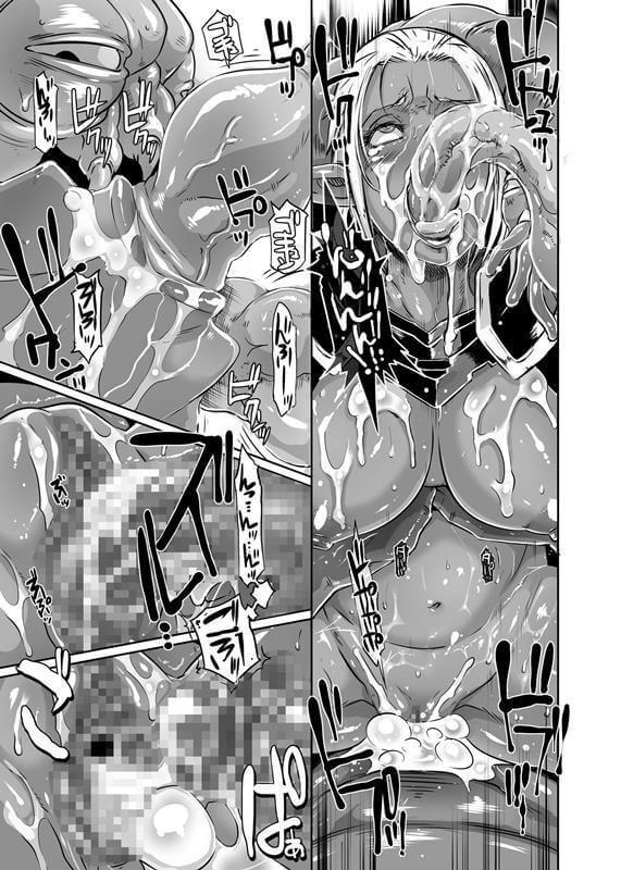 【エロ同人】エイリアンと戦っているダークエルフの巨乳美女はあっという間に拘束されてしまって触手に絡め取られてしまってレイプされちゃいますw 散々陵辱から蹂躙されまくって羞恥心を感じる間も無く中出しを繰り返されて輪姦までされた挙句に大量にザーメンをぶっかけられちゃうw (13)